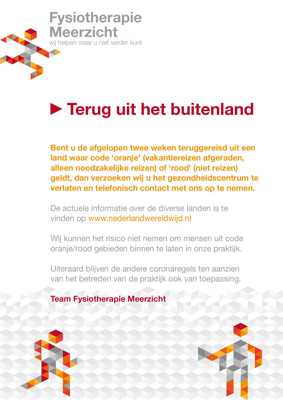 Fysiotherapie Meerzicht Zoetermeer Poster vakantie 2020